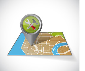 tools and map illustration design
