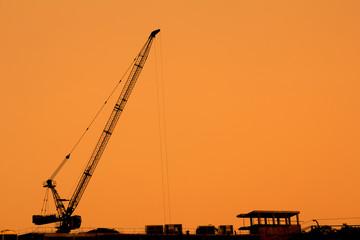 construction cranes silhouettes