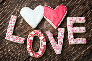 hearts and the word love of cookies for the holiday Valentine's