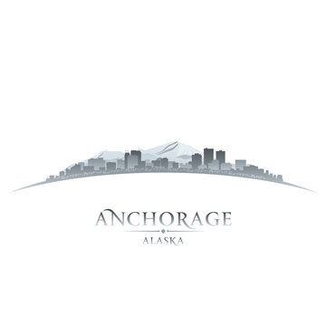 Anchorage Alaska city skyline silhouette white background