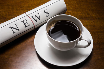 news zeitung und kaffee