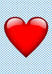 Karte Hintergrund kleine blaue Herzen, ein großes rotes Herz