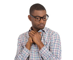Stressed, shy, anxious, nerdy man ashamed of situation