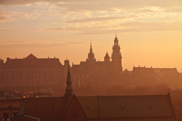 Poster Cracovie Wawel hill with castle in Krakow