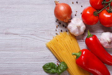 Ingredients for pasta on the table. top view