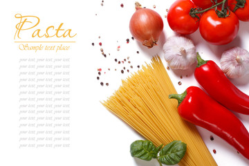 spaghetti and vegetables for pasta cooking isolated
