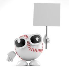 Baseball holds a placard