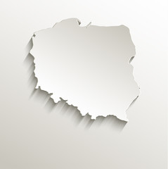 Poland map card paper 3D natural