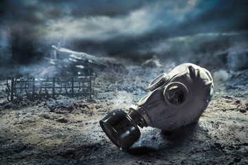 Gas mask in quemical war Wall mural