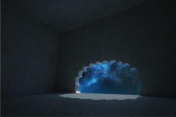 Cloud door in dark room