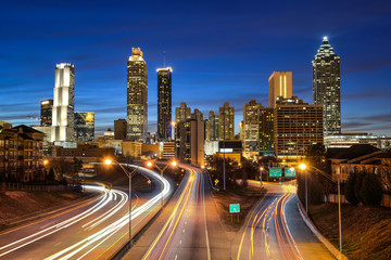 Aluminium Prints Night highway Atlanta downtown skyline during twilight blue hour