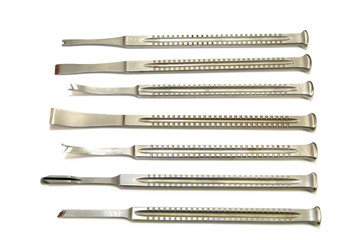 surgical instruments on white background