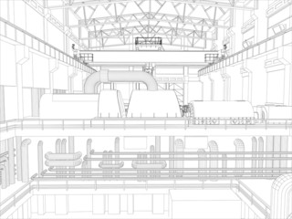 Gantry crane in a factory environment. Wire-frame. Vector format