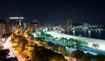 Night View of Botafogo Beach and Guanabara Bay in Rio, Brazil