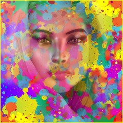 Abstract splattered paint background with womans face
