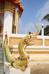Naga at staircase in Thai Temple