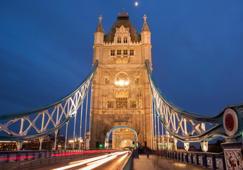 Tower Bridge with motion blurred car lights