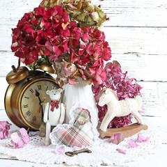 hydrangea composition in retro background