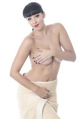 Young Woman Wearing a Bath Towel