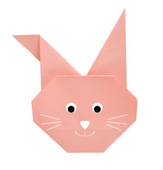 Origami Easter bunny, rabbit - pink, isolated over white