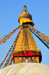 Bodhnath stupa with prayer flags in Kathmandu - Nepal