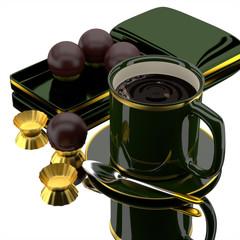 3d coffee set.