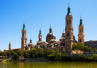 Summer view of Cathedral in Zaragoza from Ebro