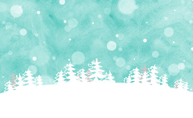 snow, fir trees on sky background illustration