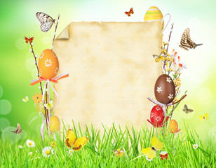 Easter concept with blank paper