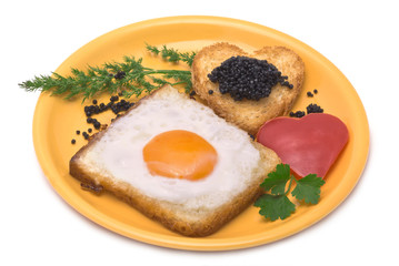 Romantic Breakfast: toast, egg, heart-shaped paprika and caviar