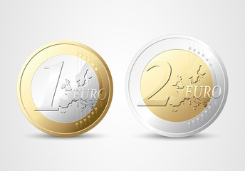 1 and 2 Euro