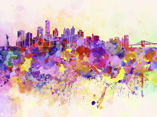 Wall Mural - New York skyline in watercolor background