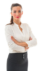 Business Woman with crossed arms on white background