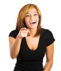 young excited happy woman smiling laughing, pointing finger
