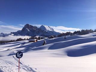 Empty winter landscape in the Dolomites