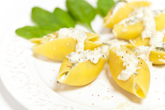 Jumbo Shells pasta staffed with ricotta cheese and spinach