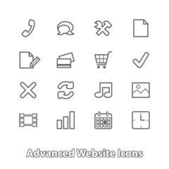 Set of website icons for online shopping, contour flat