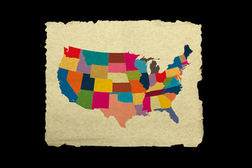 USA map on old paper on black background