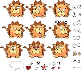lion ball cute cartoon set vector