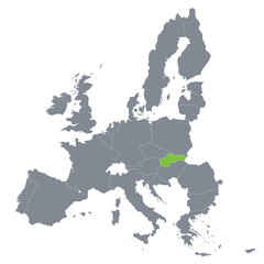 map of European Union with the indication of Slovakia