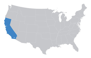 USA map with the indication of California