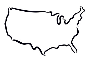 black outline of USA map