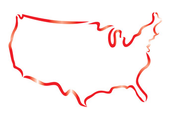 red outline of USA map