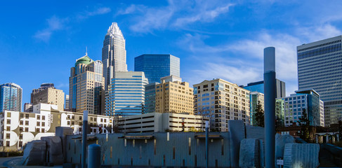Wall Mural - december 27, 2013, charlotte, nc - view of charlotte skyline at