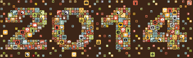 Year 2014 infographics icons, vector format