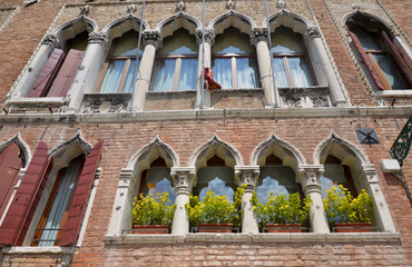Venetian building facade, windows