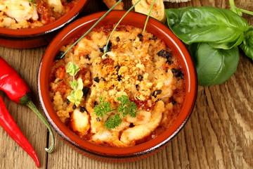 Chicken breast fillet in Mediterranean sauce, tapas