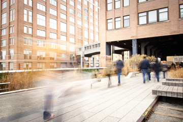 Motion Blur of People Walking on the High Line, New York