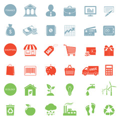 Set of web icons for finance, shopping and ecology