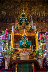 Buddha images at Wat Bupharam temple in Chiang Mai, Thailand